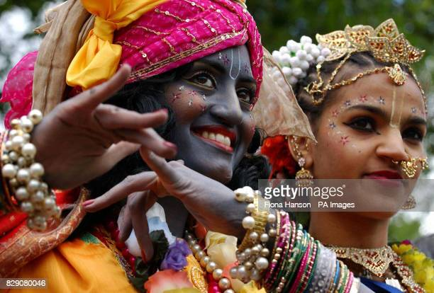 Hare Krishna devotees dressed as temple maidens take part in the 'Rathayatra Carnival of Chariots' event in London It is the first time the religious...