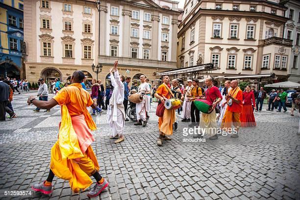 Hare Krishna Movement members on Prague street