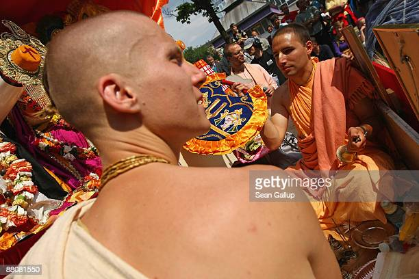 Hare Krishnas participate in the annual Carnival of Cultures parade in Kreuzberg district on May 31 2009 in Berlin Germany The carnival in German...