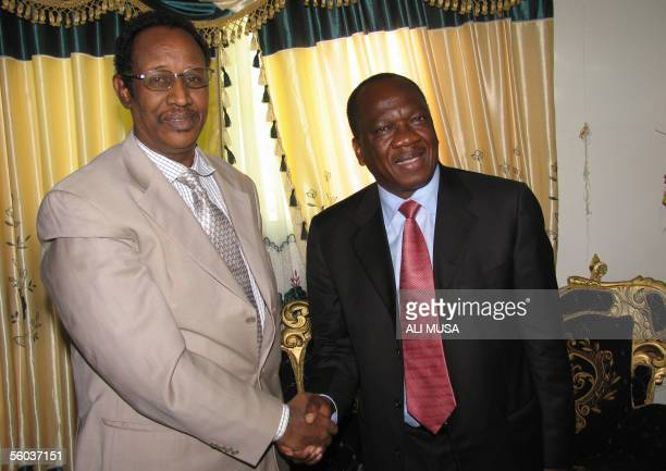 President of the Breakaway Republic of Somaliland Dahir Riyale Kahin shakes hands with United Nation special envoy to Somalia Francois Fall during...