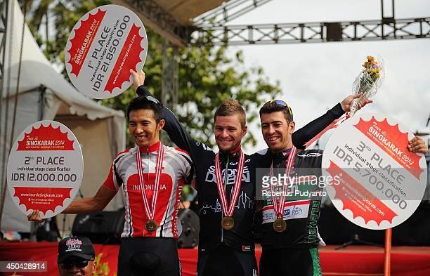 Hari Fitriyanto of Indonesia National Team Oscar Pujol Munoz of Skydive Dubai Pro Cycling Team and Edgar Nohales Nieto of Team 7 Eleven Roadbike...