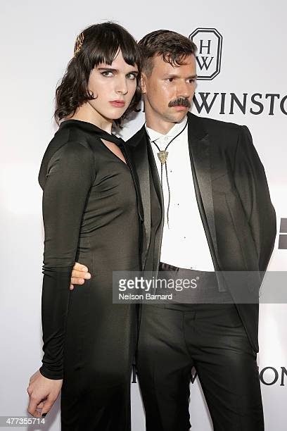 Hari Nef and Adam Selman attend the 2015 amfAR Inspiration Gala New York at Spring Studios on June 16 2015 in New York City