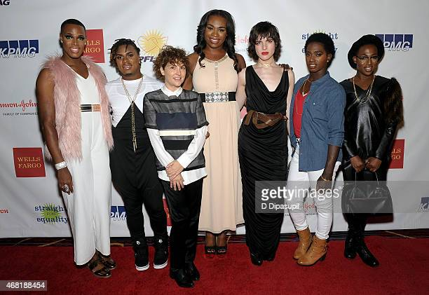 Hari Nef and producer Jill Soloway pose with The Prancing Elites from Oxygen's 'The Prancing Elites Project' at the 7th Annual PFLAG National...