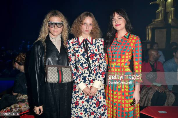 Hari Nef Petra Collins and Dakota Johnson attend the Gucci show during Milan Fashion Week Spring/Summer 2018 on September 20 2017 in Milan Italy