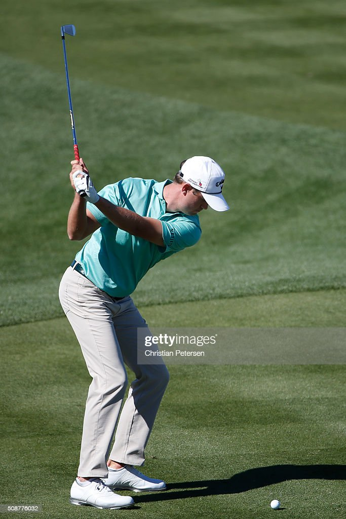 Harirs English tees off on the seventh hole during the third round of the Waste Management Phoenix Open at TPC Scottsdale on February 6, 2016 in Scottsdale, Arizona.