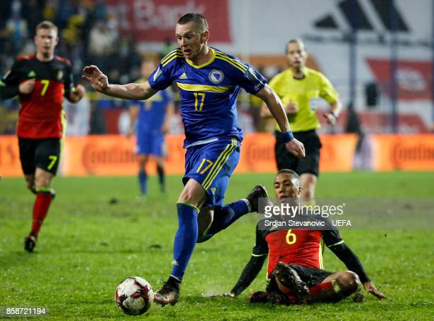 Haris Duljevic of Bosnia in action against Youri Tielemans of Belgium during the FIFA 2018 World Cup Qualifier between Bosnia and Herzegovina and...
