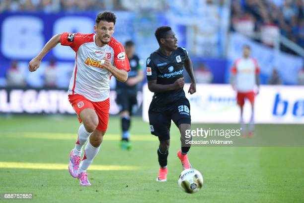 Haris Hyseni of Jahn Regensburg runs after the ball during the Second Bundesliga Playoff first leg match between Jahn Regensburg and TSV 1860...