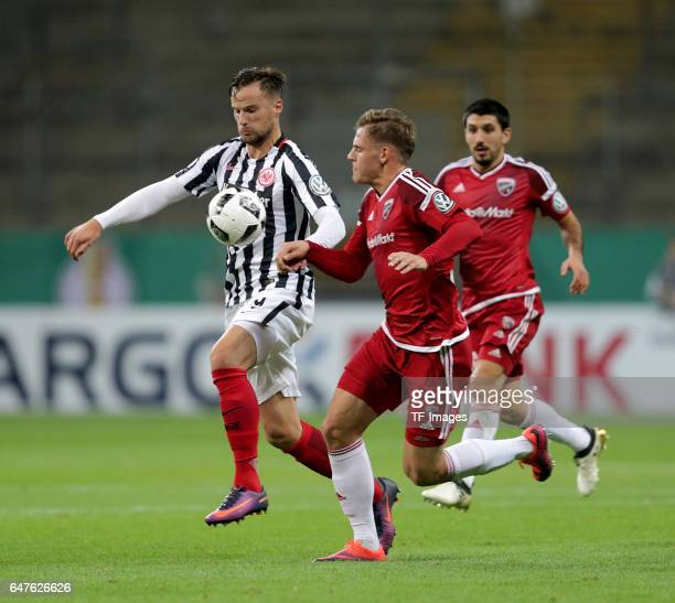 Haris Seferovi of Frankfurt Max Christiansen of Ingolstadt battle for the ball during the Bundesliga match between TSG 1899 Hoffenheim and Hertha BSC...