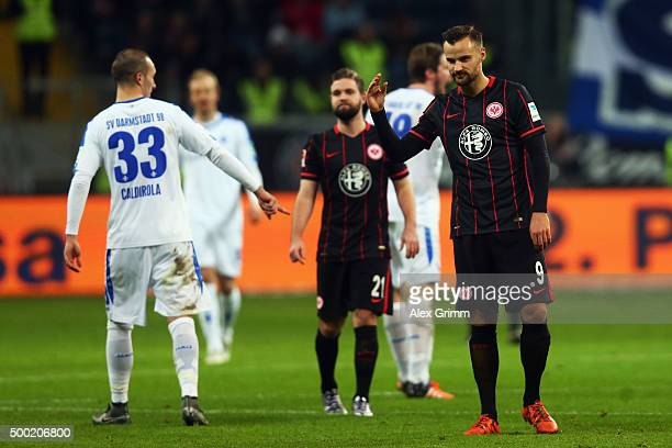 Haris Seferovic 8r9 of Frankfurt reacts during the Bundesliga match between Eintracht Frankfurt and SV Darmstadt 98 at CommerzbankArena on December 6...