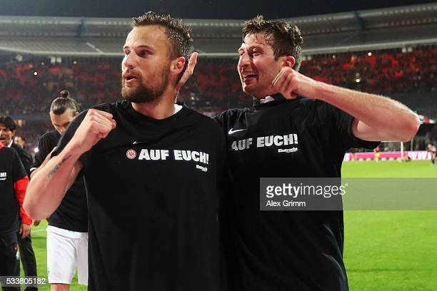 Haris Seferovic and David Abraham of Frankfurt celbrate after the Bundesliga Playoff Leg 2 between 1 FC Nuernberg and Eintracht Frankfurt at...