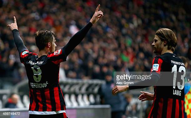 Haris Seferovic of Eintracht Frankfurt celebrates as he scores their second goal during the Bundesliga match between Eintracht Frankfurt and Borussia...