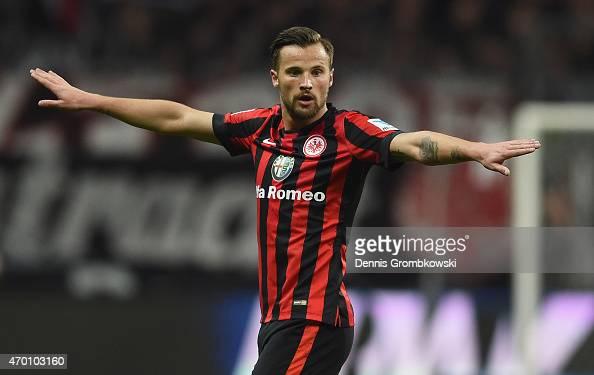 Haris Seferovic of Eintracht Frankfurt gestures during the Bundesliga match between Eintracht Frankfurt and Borussia Moenchengladbach at...