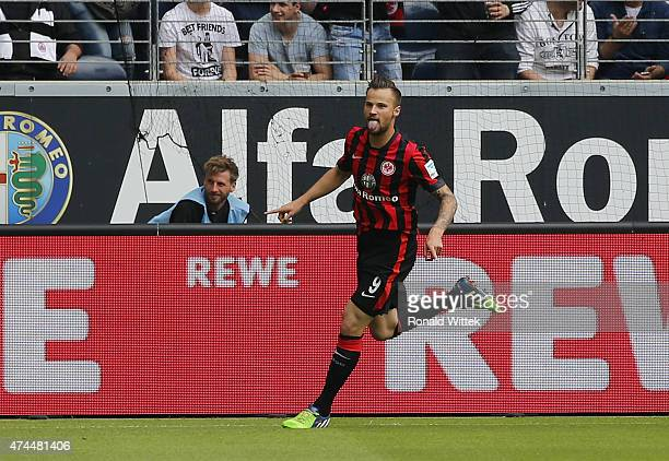 Haris Seferovic of Frankfurt celebrates after scoring his team's first goal during the Bundesliga match between Eintracht Frankfurt and Bayer 04...