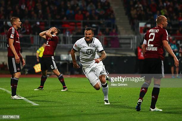Haris Seferovic of Frankfurt celebrates his team's first goal during the Bundesliga Playoff Leg 2 between 1 FC Nuernberg and Eintracht Frankfurt at...