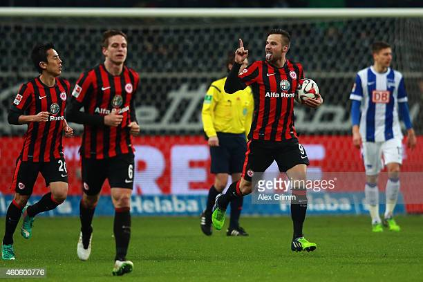 Haris Seferovic of Frankfurt celebrates his team's second goal during the Bundesliga match between Eintracht Frankfurt and Hertha BSC at...