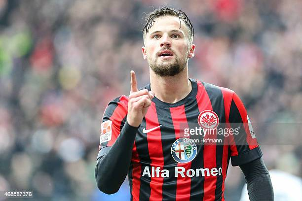 Haris Seferovic of Frankfurt celebrates his team's second goal during the Bundesliga match between Eintracht Frankfurt and Hannover 96 at...