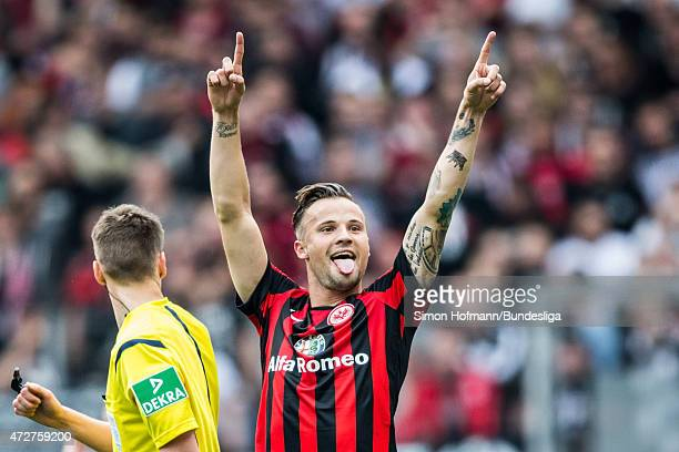 Haris Seferovic of Frankfurt celebrates his team's second goal during the Bundesliga match between Eintracht Frankfurt and 1899 Hoffenheim at...