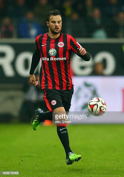 Haris Seferovic of Frankfurt controles the ball during the Bundesliga match between Eintracht Frankfurt and Borussia Dortmund at CommerzbankArena on...