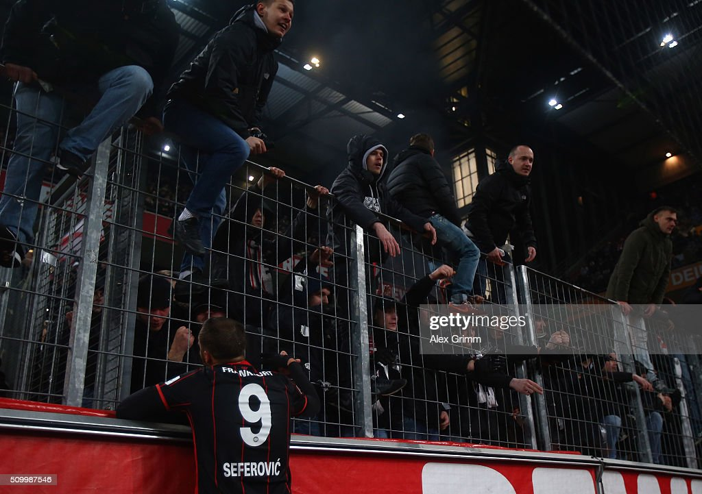 Haris Seferovic of Frankfurt discusses with the fans after the Bundesliga match between 1. FC Koeln and Eintracht Frankfurt at RheinEnergieStadion on February 13, 2016 in Cologne, Germany.