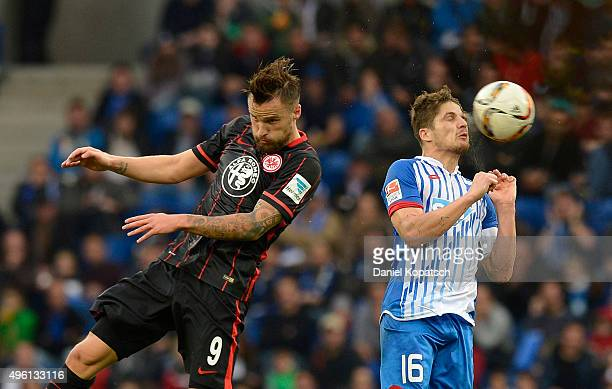 Haris Seferovic of Frankfurt jumps for a header with Pirmin Schwegler of Hoffenheim during the Bundesliga match between 1899 Hoffenheim and Eintracht...