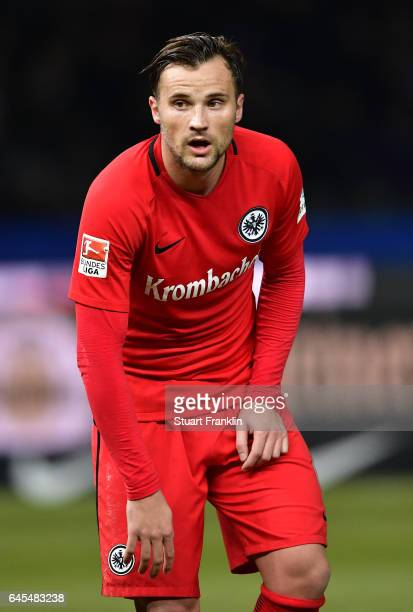 Haris Seferovic of Frankfurt looks dejected during the Bundesliga match between Hertha BSC and Eintracht Frankfurt at Olympiastadion on February 25...