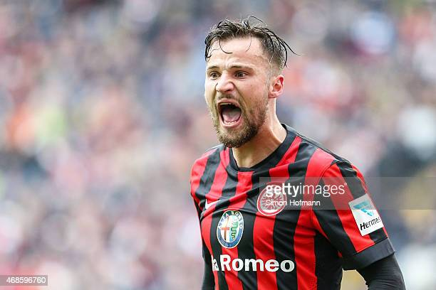 Haris Seferovic of Frankfurt reacts during the Bundesliga match between Eintracht Frankfurt and Hannover 96 at CommerzbankArena on April 4 2015 in...