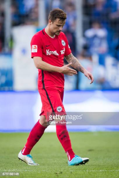 Haris Seferovic of Frankfurt reacts during the Bundesliga match between TSG 1899 Hoffenheim and Eintracht Frankfurt at Wirsol RheinNeckarArena on...