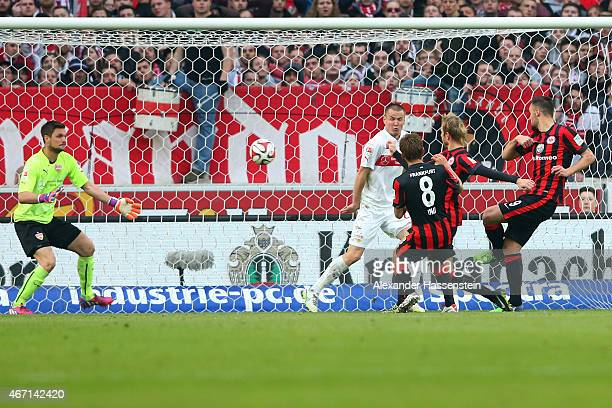 Haris Seferovic of Frankfurt scores the opening goal during the Bundesliga match between VfB Stuttgart and Eintracht Frankfurt at MercedesBenz Arena...