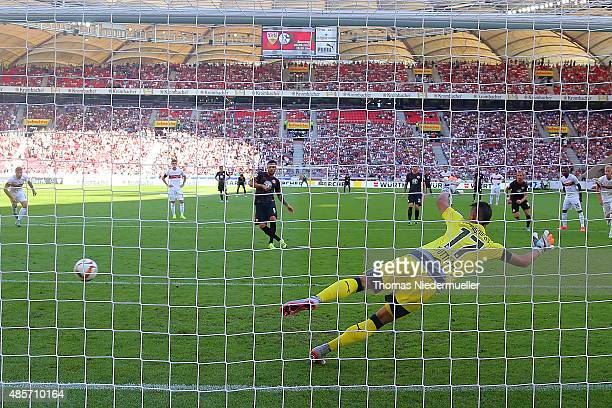 Haris Seferovic of Frankfurt scores with a penalty shoot during the Bundesliga match between VfB Stuttgart and Eintracht Frankfurt at MercedesBenz...