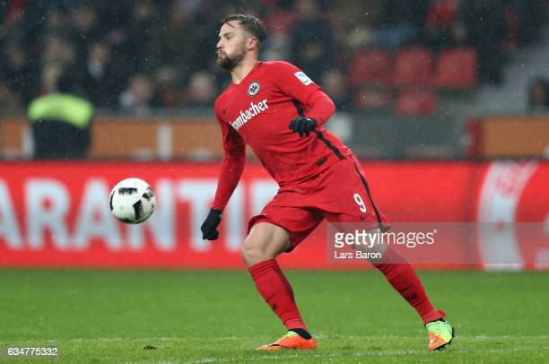 Haris Seferovic of Frankfurt stopps the ball during the Bundesliga match between Bayer 04 Leverkusen and Eintracht Frankfurt at BayArena on February...