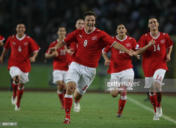 Haris Seferovic of Switzerland celebrates with his team mates after scoring his teams winning goal during the FIFA U17 World Cup 3rd/4th Play off...