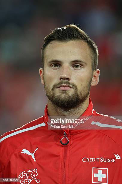 Haris Seferovic of Switzerland lines up prior to the EURO 2016 Qualifier match between Switzerland and England on September 8 2014 in Basel...