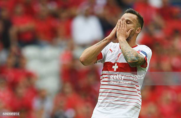 Haris Seferovic of Switzerland reacts after missing a chance during the UEFA EURO 2016 Group A match between Albania and Switzerland at Stade...