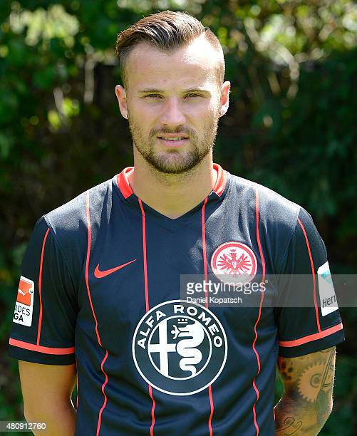 Haris Seferovic poses during the Eintracht Frankfurt team presentation on July 15 2015 in Frankfurt am Main Germany