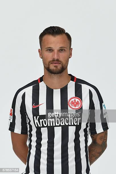 Haris Seferovic poses during the Eintracht Frankfurt Team Presentation on July 21 2016 in Frankfurt am Main Germany