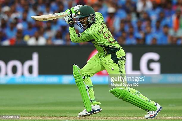 Haris Sohail of Pakistan bats during the 2015 ICC Cricket World Cup match between India and Pakistan at Adelaide Oval on February 15 2015 in Adelaide...