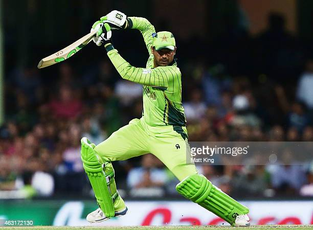 Haris Sohail of Pakistan bats during the ICC Cricket World Cup warm up match between England and Pakistan at Sydney Cricket Ground on February 11...