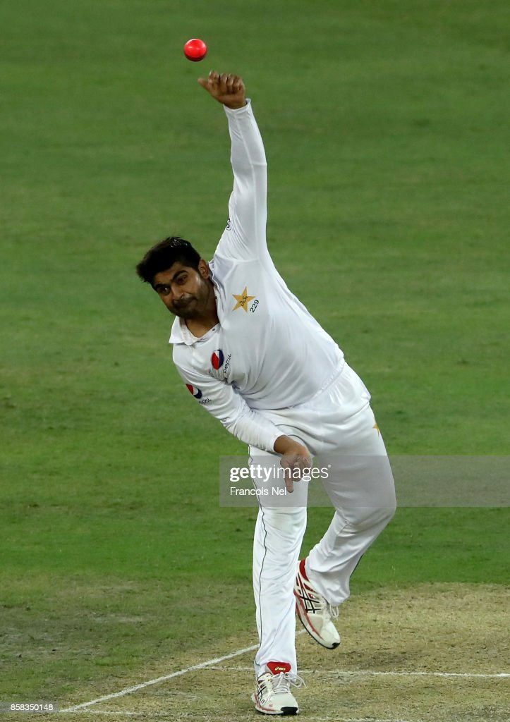 Haris Sohail of Pakistan bowls during Day One of the Second Test between Pakistan and Sri Lanka at Dubai International Cricket Ground on October 6, 2017 in Dubai, United Arab Emirates.