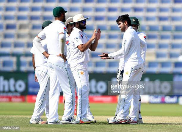 Haris Sohail of Pakistan celebrates taking the wicket of Dilruwan Perera of Sri Lanka during Day Two of the First Test between Pakistan and Sri Lanka...