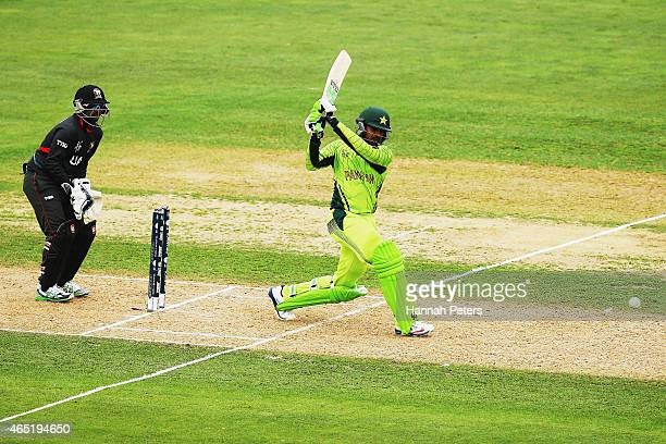 Haris Sohail of Pakistan drives the ball away for four runs during the 2015 ICC Cricket World CUp match between Pakistan and the United Arab Emirates...
