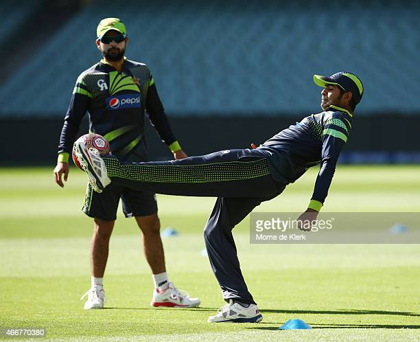Haris Sohail of Pakistan kicks the ball during a Pakistan nets session at Adelaide Oval on March 19 2015 in Adelaide Australia
