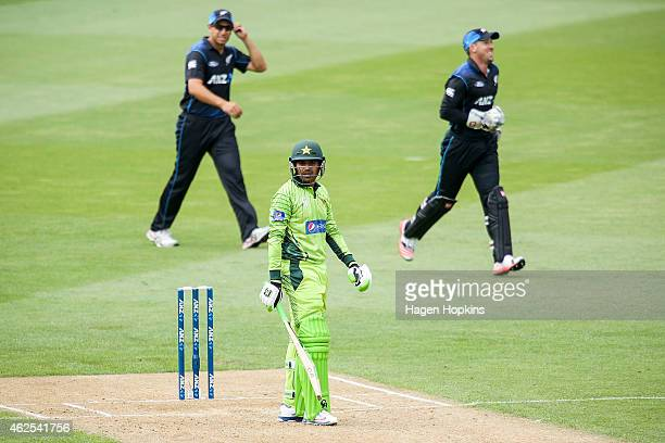 Haris Sohail of Pakistan looks on after being dismissed during the One Day International match between New Zealand and Pakistan at Westpac Stadium on...