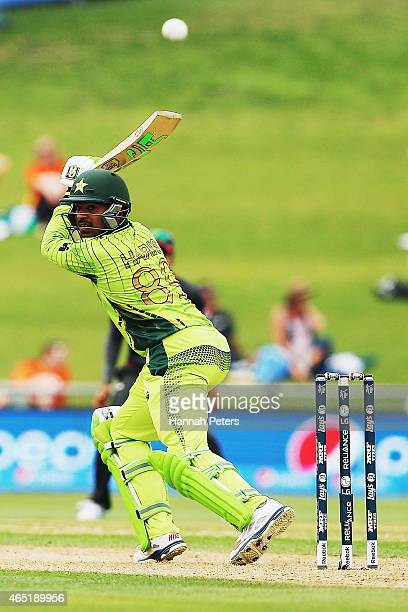 Haris Sohail of Pakistan plays the ball away for four runs during the 2015 ICC Cricket World CUp match between Pakistan and the United Arab Emirates...