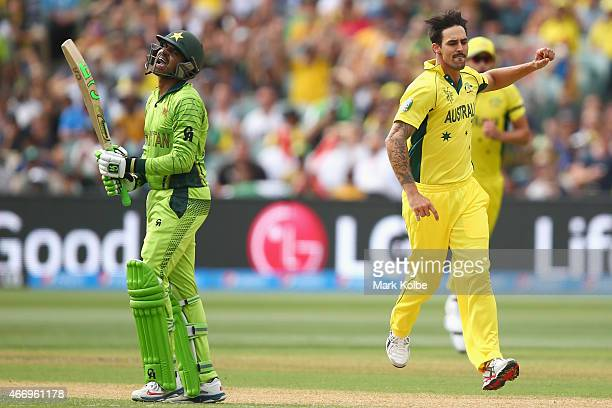 Haris Sohail of Pakistan shouts in frustration after being dismissed by Mitchell Johnson of Australia during the 2015 ICC Cricket World Cup match...