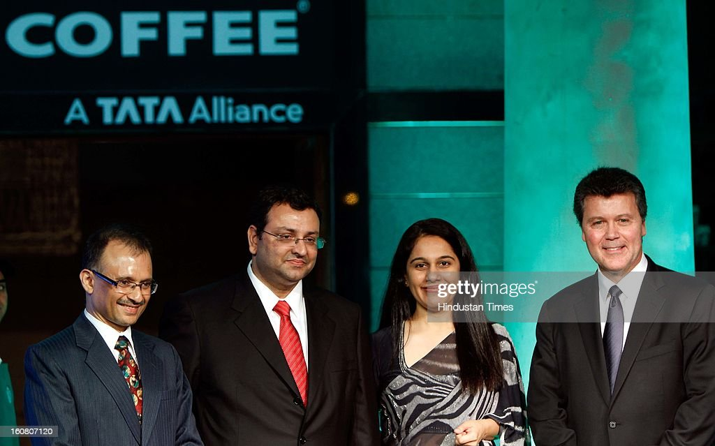 Harish Bhatt Managing Director Tata Global Beverages, Cyrus Mistry Chairman Tata Sons, Avani Saglani Davda CEO Tata Starbucks Limited and John Culver President Starbucks Coffee, China and Asia Pacific during the launch of Starbucks Coffee 'A Tata Alliance' coffee shop on February 6, 2013 in New Delhi, India. Tata Starbucks Ltd. is a fifty/fifty joint venture company, owned by Starbucks Corporation and Tata Global Beverages, that owns and operates Starbucks outlets in India.