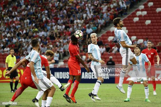 Hariss Harun of Singapore heads the ball during the International Test match between Argentina and Singapore at National Stadium on June 13 2017 in...