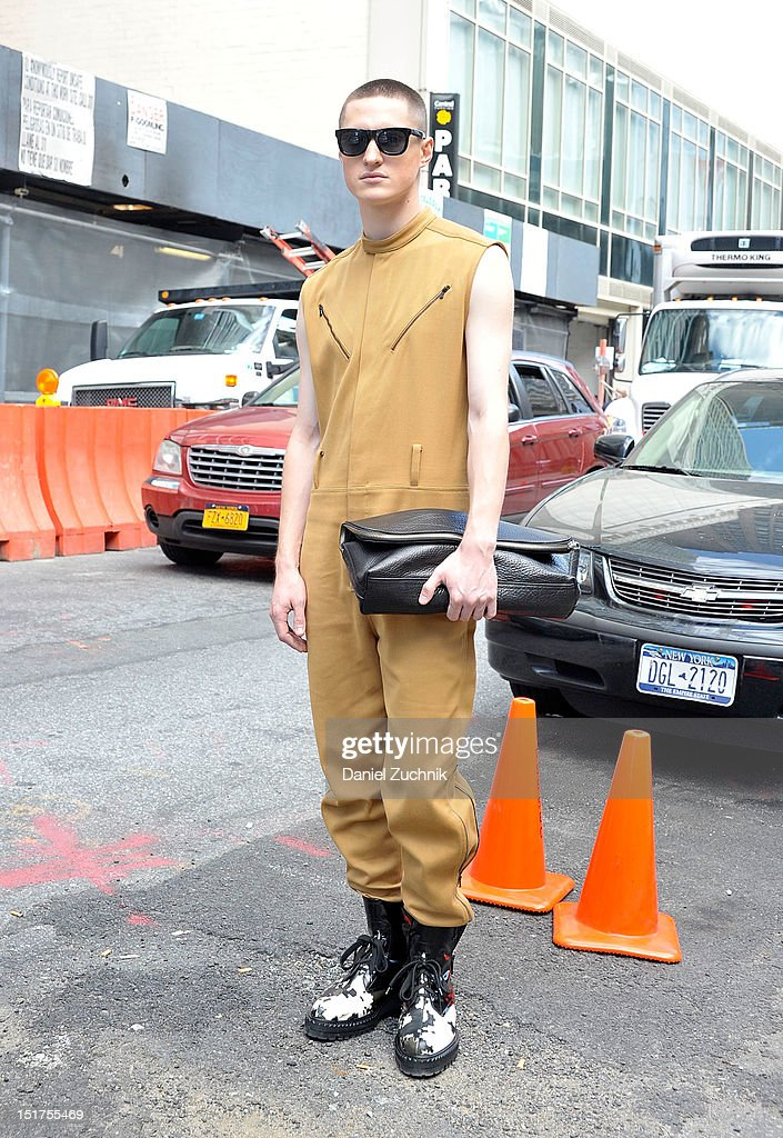 Harisson seen outside the 3.1 Phillip Lim show wearing 3.1 Phillip Lim outfit and boots with custom sunglasses on September 10, 2012 in New York City.
