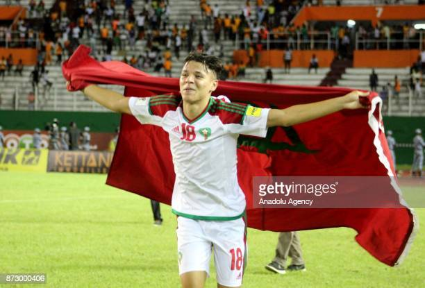 Harit Amine of Morocco celebrates after winning the 2018 FIFA World Cup African Qualifying Group C football match against Ivory Coast at Felix...