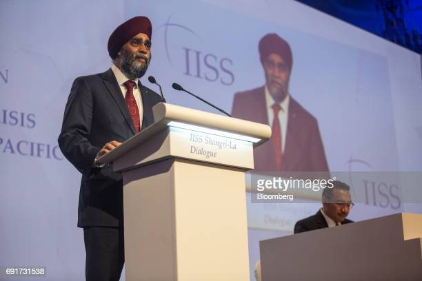 Harjit Sajjan Canada's defense minister speaks during the IISS ShangriLa Dialogue Asia Security Summit in Singapore on Saturday June 3 2017 China's...