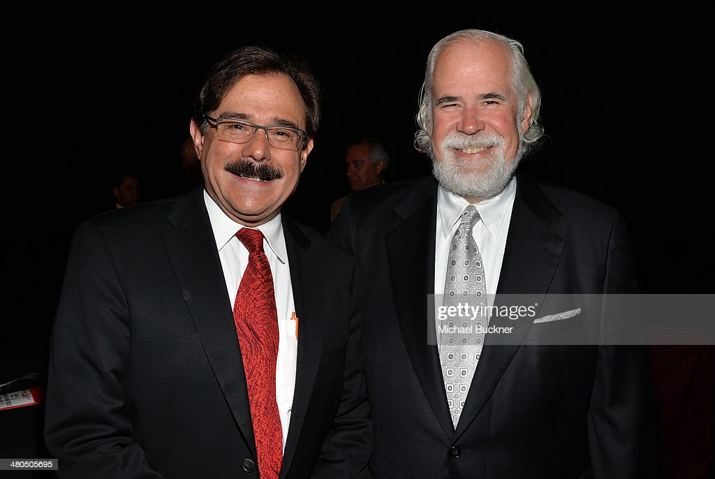 Harkins Theatres Owner & CEO Dan Harkins and Sony Pictures Entertainment Vice Chairman <a gi-track='captionPersonalityLinkClicked' href=/galleries/search?phrase=Jeff+Blake&family=editorial&specificpeople=213723 ng-click='$event.stopPropagation()'>Jeff Blake</a> attend The State of the Industry: Past, Present and Future and Universal Studios Presentation at The Colosseum at Caesars Palace during CinemaCon, the official convention of the National Association of Theatre Owners, on March 25, 2014 in Las Vegas, Nevada.